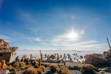 Enjoying the view from the top of Isla Incawasi - Salar de Uyuni, Bolivia