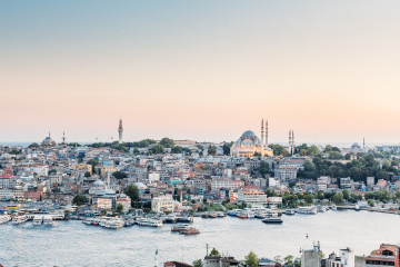 The view of Istanbul Turkey at sunset from Galata Tower