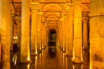 Exploring the underground columns of Istanbul's Basilica Cistern