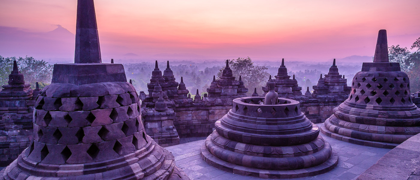 Despite the cloudy haze that morning, the blue light at Borobudur sunrise was perfect.