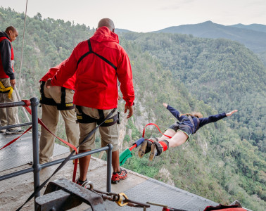 A jumper takes the first plunge at Blokrans Bridge in Tsikamma South Africa