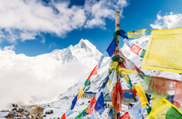 Prayer flags at Annapurna Base Camp, Nepal.