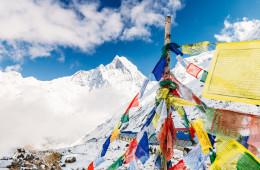 Prayer flags at Annapurna Base Camp, Nepal.