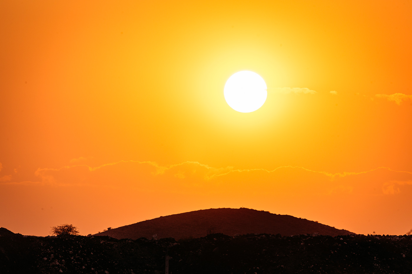 A daily earth scorching sunset over the Namib desert.
