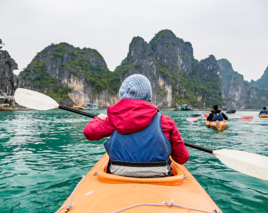 Taking a turn around Bai Tu Long on Halong Bay aboard kayaks