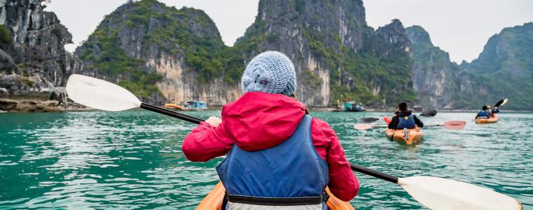 Taking a turn around Bai Tu Long on Halong Bay aboard kayaks